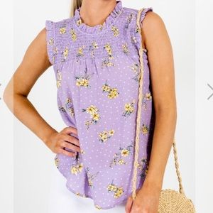 NWT Smocked Polka Floral Lilac Trendy Top Large